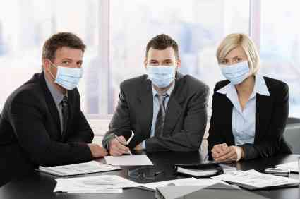 business people getting sick